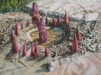 "The Adoration Circle, acrylic on canvas, 36"" x 48""  2014"