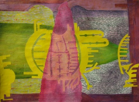 """As the Armada Passed Our Final Inspection, cut paper, acrylic and colored pencil on paper, 22"""" x 30"""" 2013 $650"""