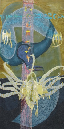 """As The Veil-Worms Discover Their Sentience, cut paper and acrylic on panel, 24"""" x 48"""" 2014"""