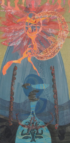 "Liquid Offering, acrylic, cut paper, colored pencil and brush-tip marker on panel, 24"" x 48"" 2014 $1100"