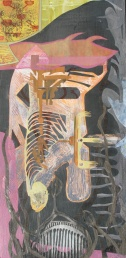 """Midnight at the Extraction Site, acrylic cut paper, colored pencil and brush-tip marker on panel, 16"""" x 32"""" 2014"""