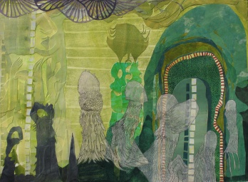 """On the Quest for Latent Plant Thought, cut paper, acrylic and colored pencil on paper, 22"""" x 30"""" 2013"""