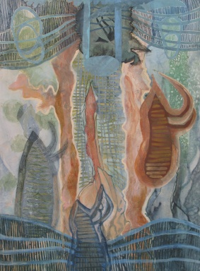 "Onto A More Sophisticated Safety Sac, acrylic, colored pencil and cut paper on paper, 22""x30"" 2011"