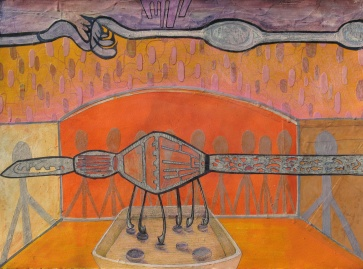 """Our Most Joyous Experiment, cut paper, acrylic and colored pencil on paper, 22""""x30"""" 2013 $650"""