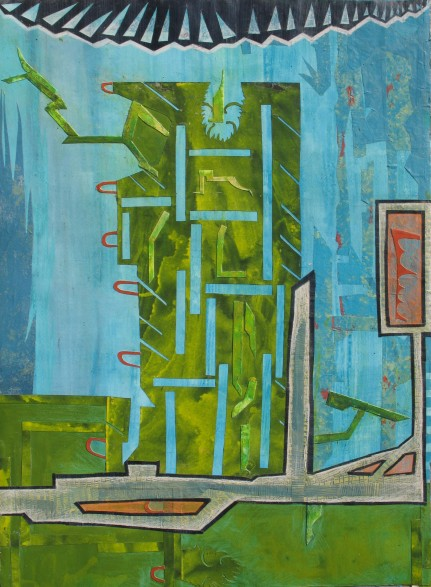 """Outfitting The Diagnostic Tank, acrylic, cut paper and colored pencil on paper, 22"""" x 30"""" 2013 SOLD"""