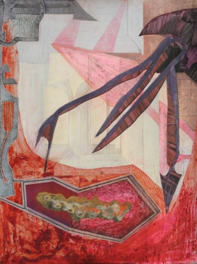 """Quarantine For A Gentle Fungus; acrylic, dry pigment brush-tip marker, cut paper and colored pencil on paper, 22"""" x 30"""" 2014 SOLD"""