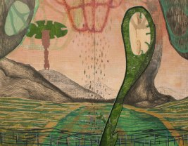 """A Haven for the Diatoms; cut paper, acrylic, and graphite on panel; 72"""" x 60"""" 2015"""