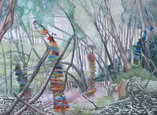 """A Precarious Stacking in the Forest; colored pencil, gouache, pen and brush-tip marker on paper; 22"""" x 30""""; 2015 