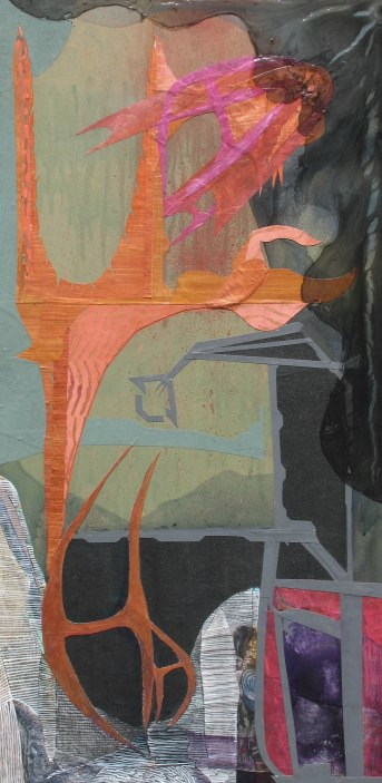 """As The Sludge-Winds Arrive, acrylic, cut paper, colored pencil and brush-tip marker on panel, 16"""" x 32"""" 2015 