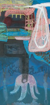 "Nighttime Machination, acrylic, cut paper, colored pencil and brush-tip marker on panel, 16"" x 32"" 