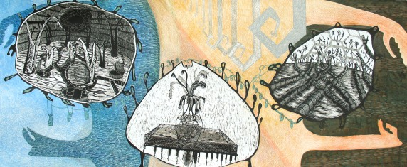 "Sampling a Foreign Atmosphere, Scratchboard, colored pencil, marker and pen on paper; 20 1/2"" x 45 1/2"" (framed) 