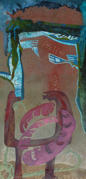 """Three Ways to Contain Growth, acrylic, cut paper, colored pencil and brush-tip marker on panel, 16"""" x 32"""" 2015 