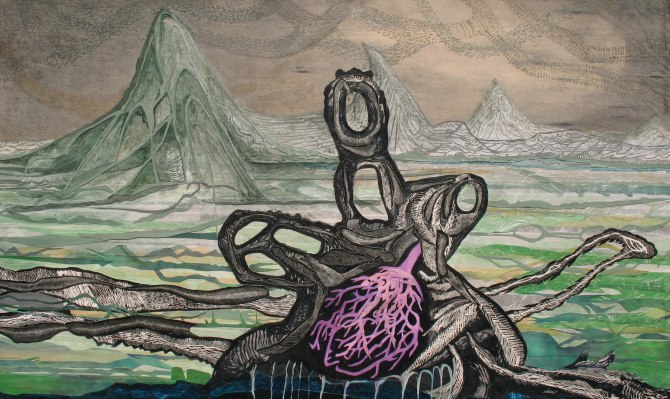 """To Survive in the Swollen Plain, scratchboard, acrylic, cut paper, graphite on panel; 36"""" x 60"""" 2015"""