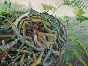 """As Latency Ends, Its Knuckles Untangle Acrylic on canvas 36"""" x 48"""" 2014 $925"""